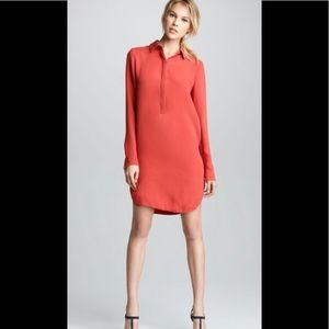 Vince Silk Ling Sleeve Tunic Shirt Dress